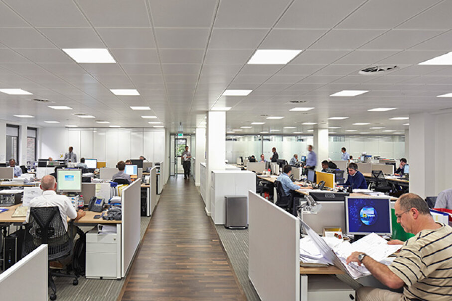 The London office of energy company Saipem is open plan, but people have learned to get their work done. © Huften and Crow/VIEW/Corbis