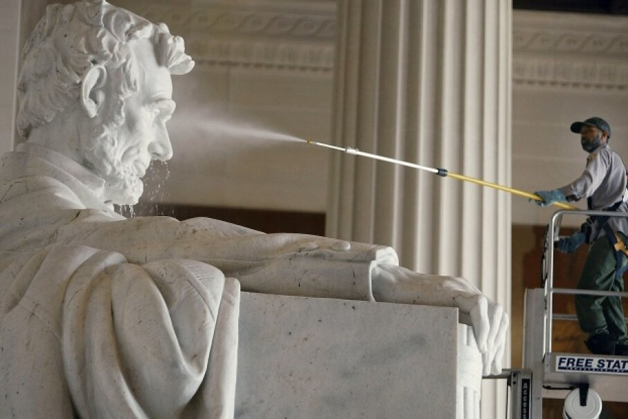 Even Abe gets a pressure wash twice a year from the National Park Service.  Mark Wilson/Getty Images