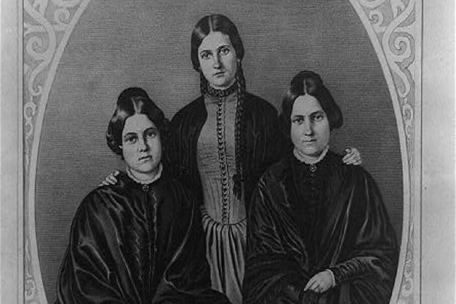 Maggie (L) and Kate (C) Fox (pictured with their older sister Leah) claimed to be mediums, but later revealed it was all a hoax. Library of Congress