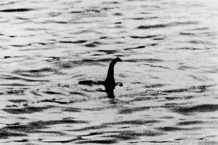 This is one of the famous 'surgeon's photographs' of the Loch Ness monster allegedly taken by Dr. R. Kenneth Wilson. Many years later, someone confessed the photos had been staged. Keystone/Getty Images