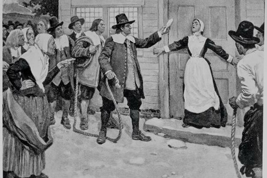 This illustration shows a woman being accused of witchcraft in Salem, Massachusetts, in the late 1600s. © Baldwin H. Ward & Kathryn C. Ward/CORBIS