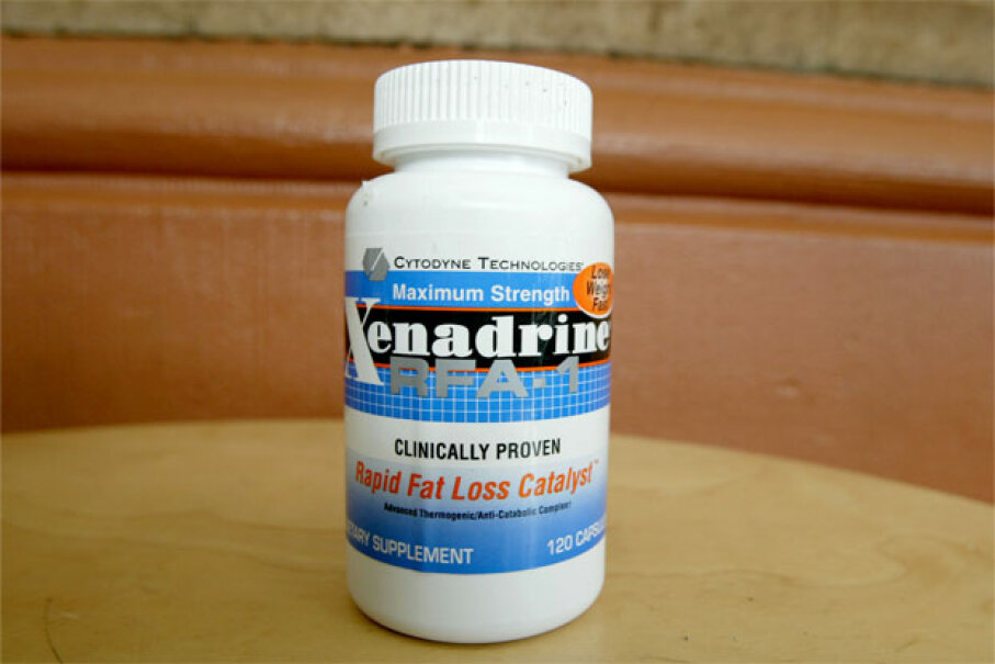 Baltimore Orioles pitching prospect Steve Bechler, who died on Feb. 17, 2003, of complications from heatstroke, took three tablets each morning of Xenadrine RFA-1, the weight-loss drug pictured here that contains ephedrine. Chris Hondros/Getty Images