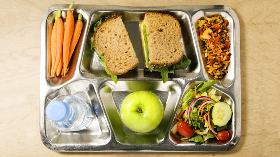 Lunch tray filled with healthy meal
