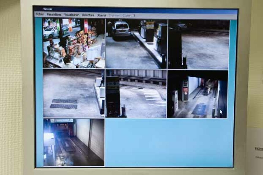Images captured by surveilance camera at a gas station and car wash. PhotoAlto/James Hardy/Getty Images