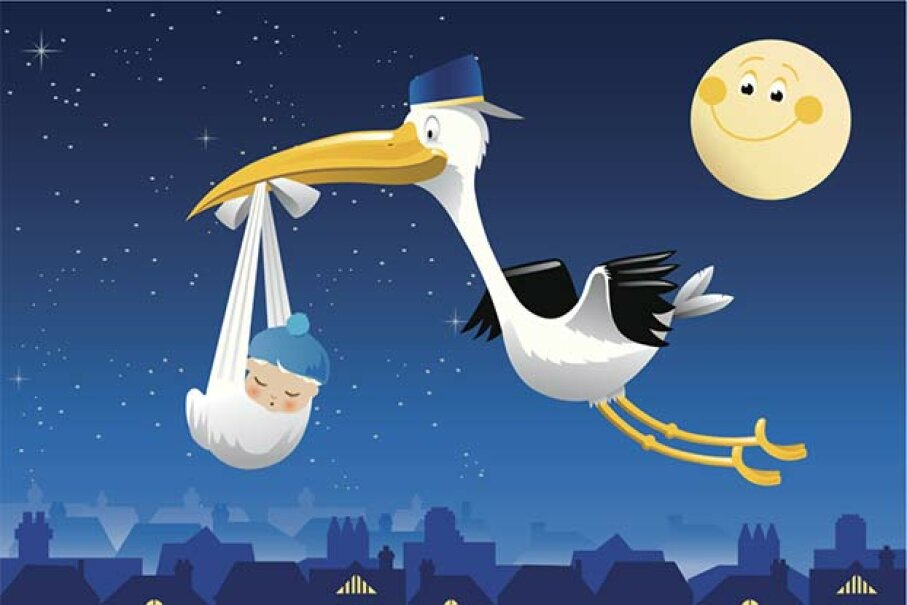 Nope, the stork is not more likely to deliver the baby on a full moon, scientific research has found. AnvilArtworks/Getty Images