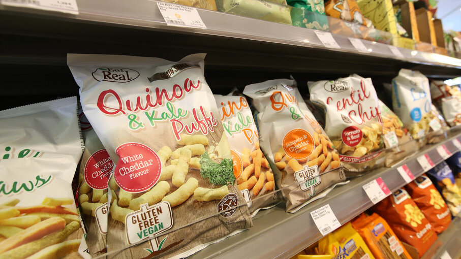 Bags of quinoa and kale puffs, Germany