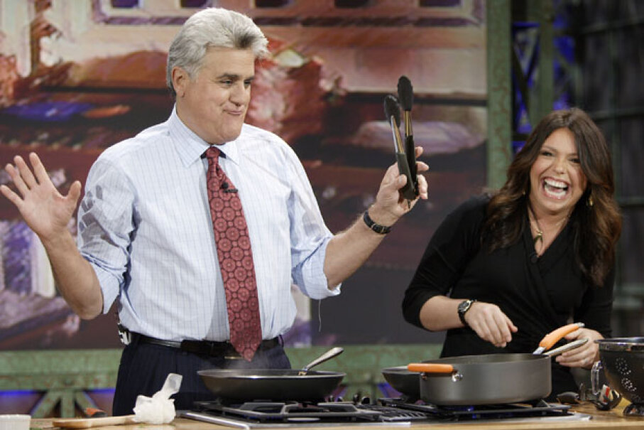 "Rachael Ray cooking with ""Tonight Show"" host Jay Leno in 2006. Paul Drinkwater/NBC/NBCU Photo Bank/Getty Images"