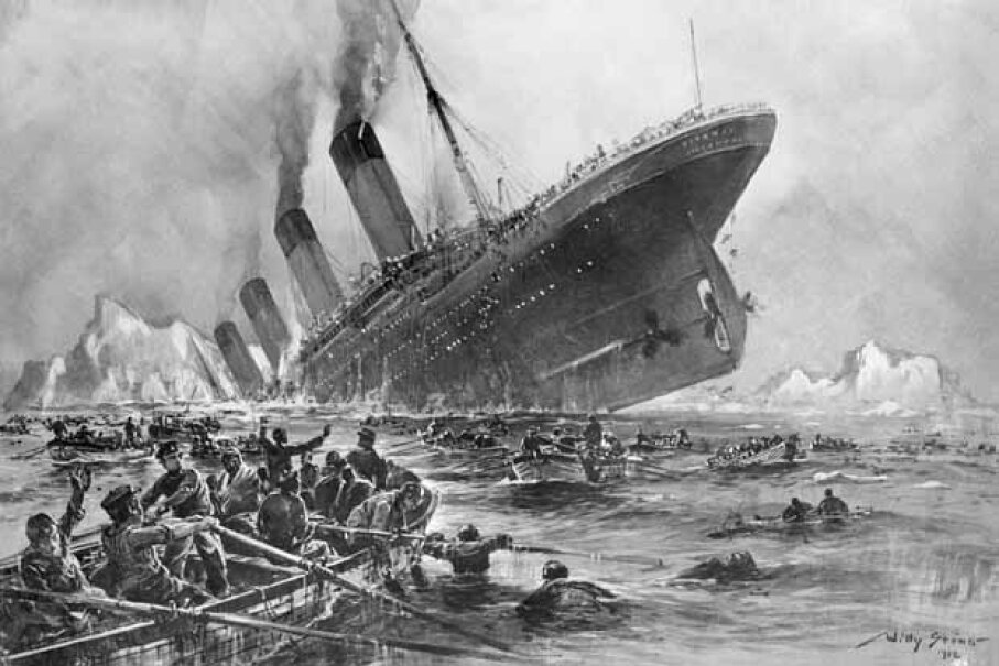 Eight musicians bravely played on while the Titanic sank. © Bettmann/CORBIS