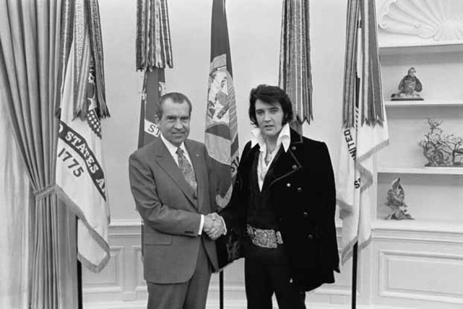 This famous shot of Elvis Presley with President Nixon at the White House is the most requested photo at the U.S. National Archives. U.S. National Archives