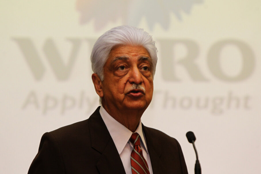 Wipro Technologies chairman Azeem Premji speaks during the announcement of his company's financial results at its headquarters in Bangalore, India in 2013. Wipro started out selling vegetable oil. STRDEL/AFP/Getty Images