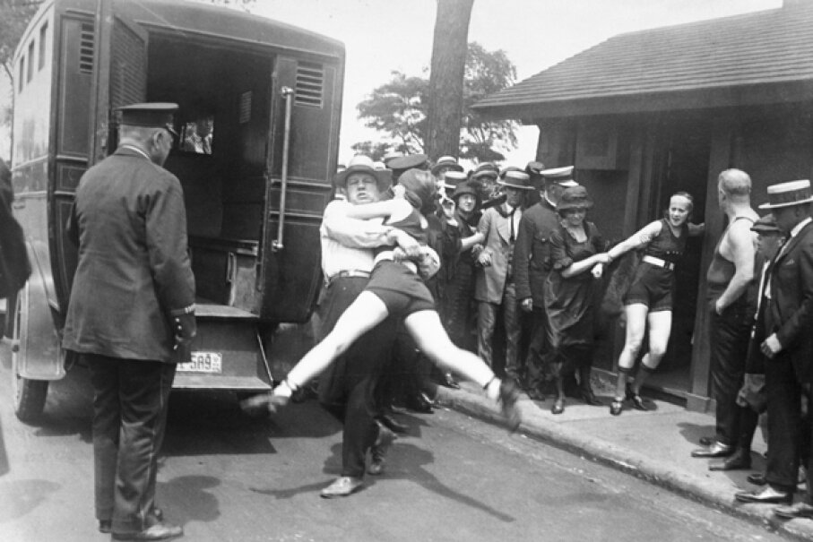 Back in 1922, women were arrested for defying a Chicago edict banning abbreviated bathing suits on beaches. © Bettmann/CORBIS