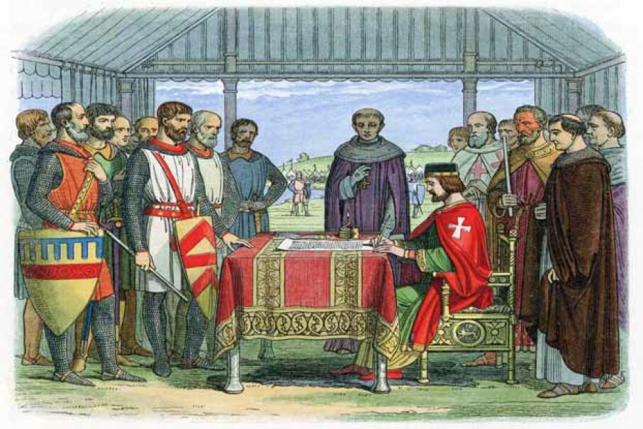 An illustration of England's King John signing the Magna Carta in 1215. The document was the first ever signed by a king of England to protect the rights of his subjects. © Heritage Images/Corbis