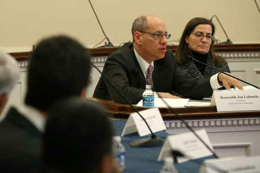 Jon Leibowitz, chairman of the Federal Trade Commission (FTC), and Julie Brill, FTC commissioner, participate in a briefing on electronic data collection on Capitol Hill. Mark Wilson/Getty Images