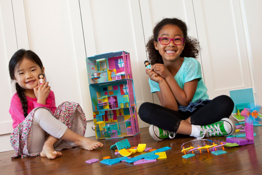 Roominate toys kits give dollhouse playsets a dose of architectural versatility. Courtesy Roominate