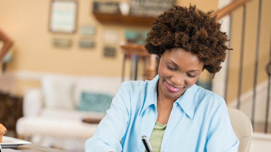 woman balancing checkbook