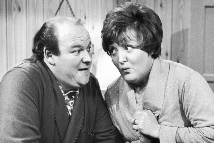 """Roy Kinnear and Patsy Rowlands in 1968 on the Yorkshire TV """"Inside George Webley."""" Evening Standard/Hulton Archive/Getty Images"""