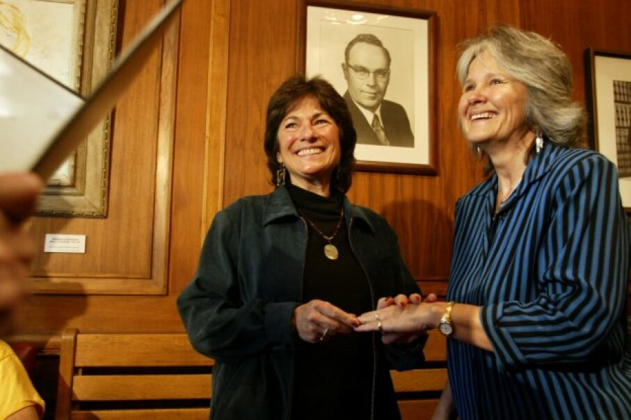 For the federal government to recognize your marriage, it has to have been performed somewhere it was legally recognized. Here, Marcia Kadish (left) and Tanya McCloskey become the first same-sex couple to be married in Cambridge, Massachusetts. Photo by Dina Rudick/The Boston Globe via Getty Images