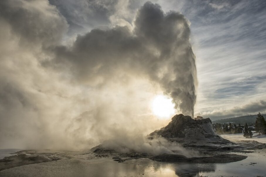 Castle Geyer erupts in the Upper Geyser Basin of Yellowstone National Park. Jeff Vanuga/Corbis/Getty Images