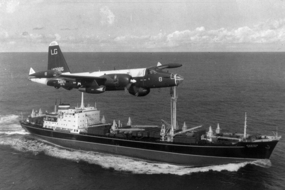 An American P2V Neptune patrol plane flies over a Soviet freighter in 1962. MPI/Getty Images
