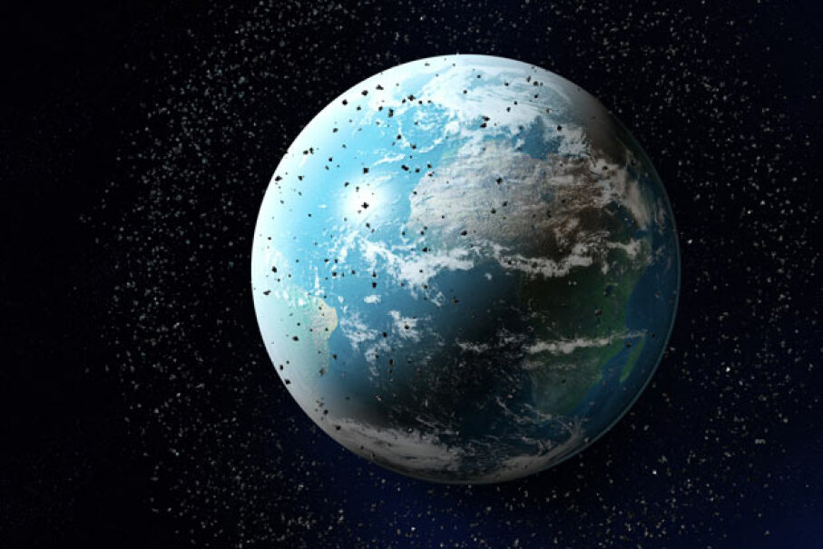 Sadly, there's a lot of space junk around planet Earth. Maciej Frolow/Photodisc/Getty Images