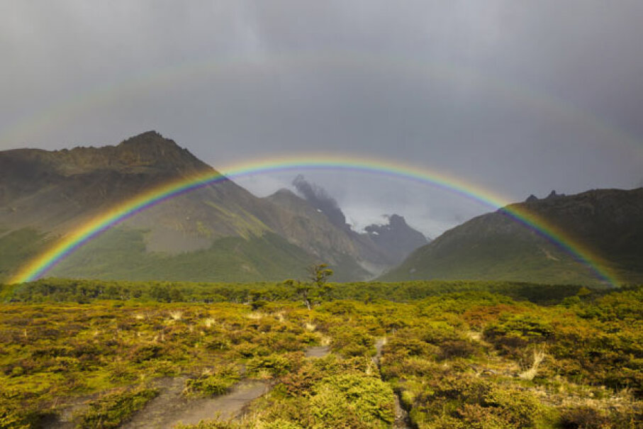 A rainbow looks like an arc as you can't see the bottom half because of the ground.  In the air, it might look like a disk. iStockphoto/Thinkstock