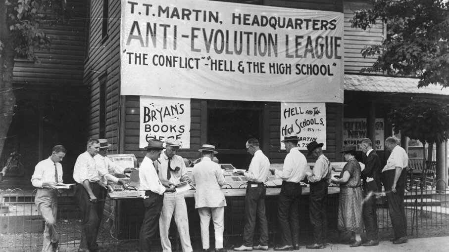 After a Tennessee law banned the teaching of evolution in public schools, a group of locals in a small Tennessee town decided to put up a fight. Topical Press Agency/Hulton Archive/Getty Images