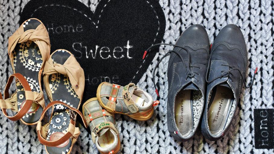shoes on front door mat
