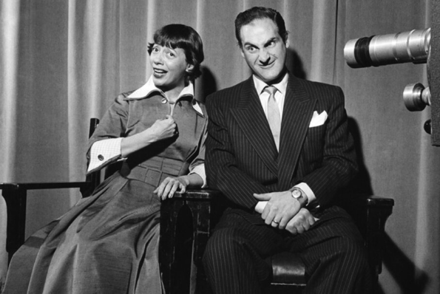 "Imogene Coca and Sid Caesar perform a skit on the live-broadcast ""Your Show of Shows"" in 1953. Michael Ochs Archives/Getty Images"