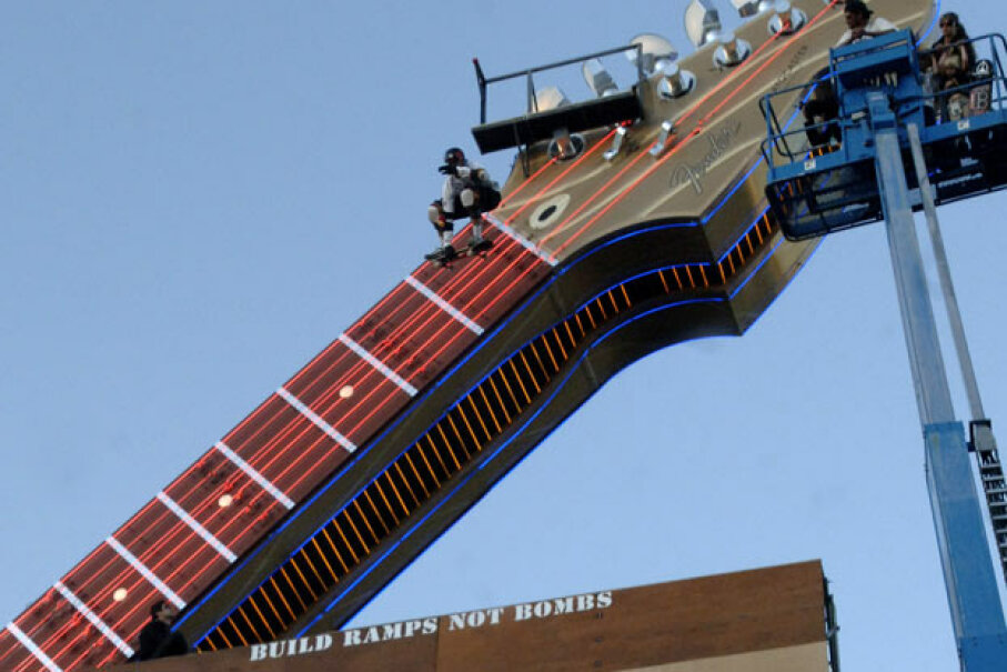 Danny Way bomb drops off the guitar at the Hard Rock Hotel and Casino Resort. Denise Truscello/WireImage/Getty Images