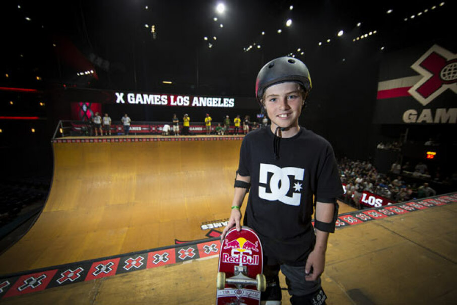 Tom Schaar poses for a pic during Skateboard Vert Finals at the X Games in Los Angeles, 2012. At just 12 years old, he pulled off the seemingly impossible 1080 spin. Christian Pondella/Getty Images