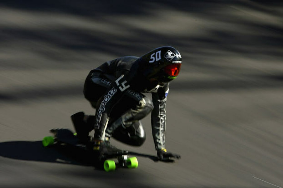 Mischo Erban races down the hill during a speedboarding practice run on Mount Panorama in Bathurst, Australia. Ezra Shaw/Getty Images