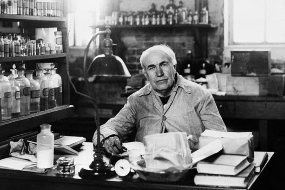 A 1929 photo of American inventor Thomas Edison in his laboratory in Orange, N.J. Keystone/Getty Images
