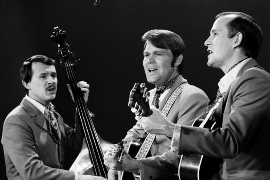 Dick Smothers, Glen Campbell and Tom Smothers on 'The Smothers Brothers Comedy Hour' in 1969. CBS Images/Contributor/Getty Images