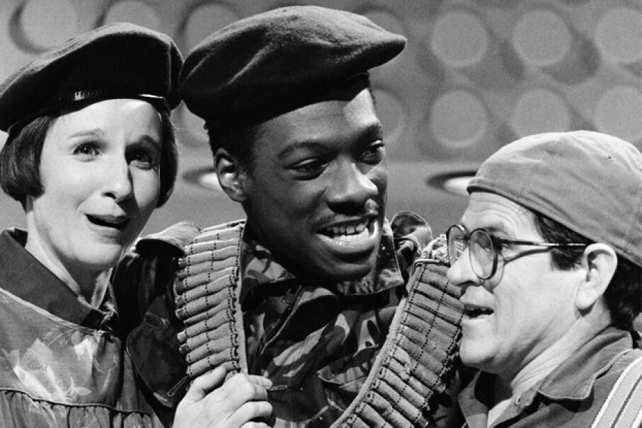 """Pictured: Mary Gross, Eddie Murphy and Tim Kazurinsky in a 1982 """"Saturday Night Live"""" skit titled """"Herpes Gone Bananas."""" NBC/NBCUniversal/Getty Images"""