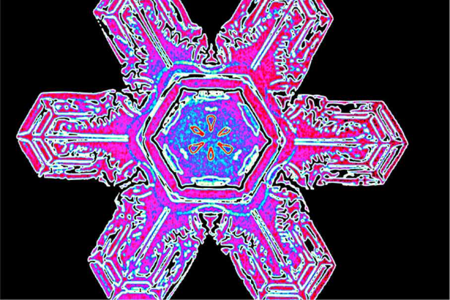 """That colorized photo of a snowflake was snapped all the way back in 1902, courtesy of Vermonter Wilson """"Snowflake"""" Bentley. © Kallista Images/Visuals Unlimited/Corbis"""