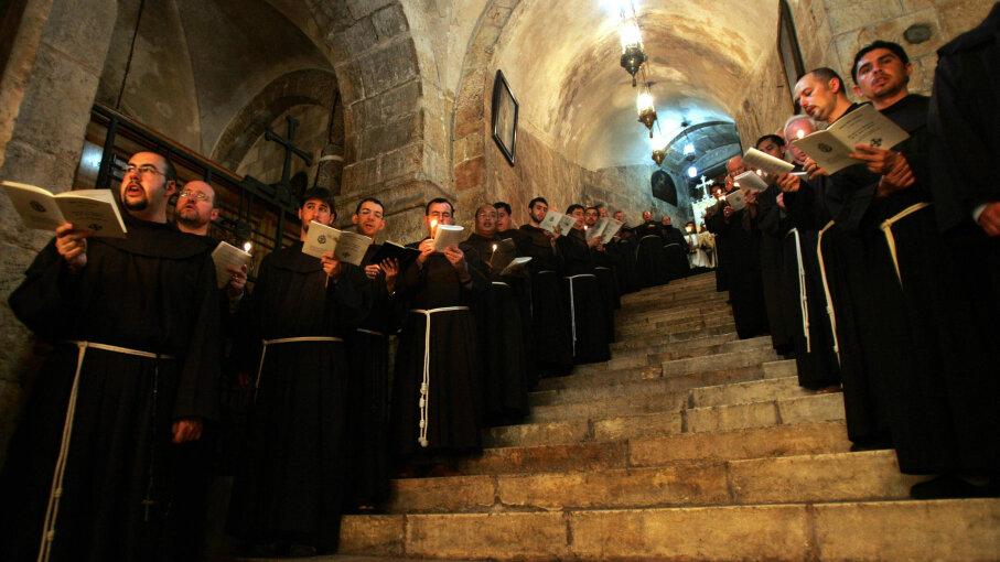Franciscan monks,  Easter, Jerusalem