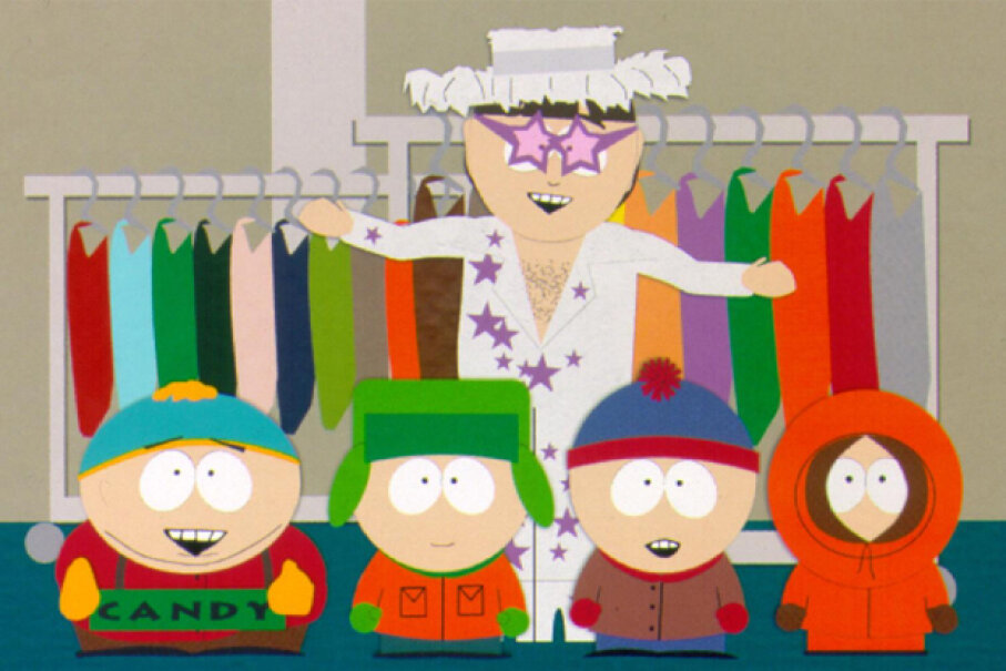 Characters from the cartoon TV show 'South Park', including Elton John (rear) with (from L to R) Cartman, Kyle, Stan and Kenny in a 1998 episode. Hulton Archive/Getty Images