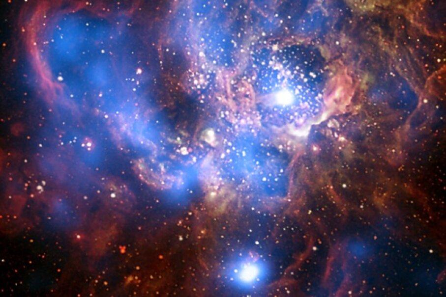 Like fireworks, but better. Image courtesy X-ray: NASA/CXC/CfA/R. Tuellmann et al.; Optical: NASA/AURA/STScI