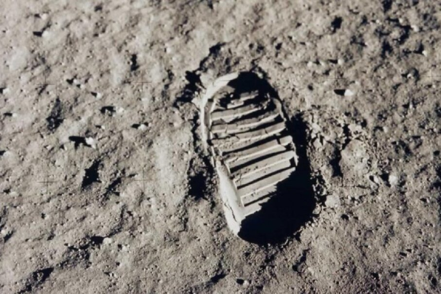 Without any wind to blow them away, the footprints on the moon aren't going anywhere. This one is from Buzz Aldrin's boot. Image courtesy NASA