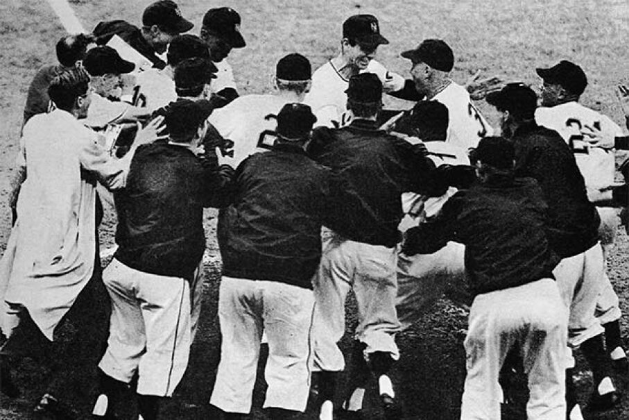 Bobby Thomson (center top) is mobbed by happy teammates after he hit the 'shot heard 'round the world' home run which won the game and the National League pennant for the New York Giants over the Brooklyn Dodgers  in 1951. Bruce Bennett Studio/Getty Images