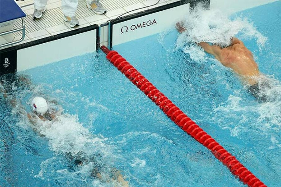 Milorad Cavic of Serbia (L) and Michael Phelps of the United States reach for the wall in the men's 100m Butterfly Final  at the Beijing Olympics. Who really won? Nick Laham/Getty Images