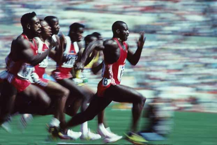Ben Johnson speeds ahead of the pack to win the 1988 Olympic 100 meter final in a world record 9.79 seconds. Ronald C. Modra/Sports Imagery/Getty Images