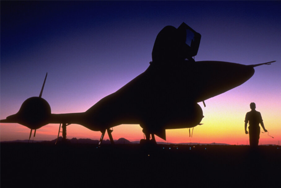 "The SR-71 ""Blackbird"" was a top secret airplane developed at Area 51. © Corbis"