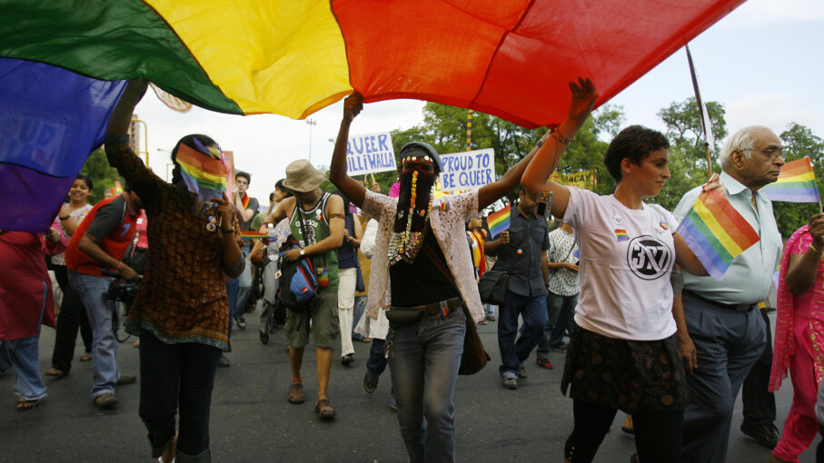 The riots inspired global demonstrations, like this queer pride march in New Delhi in 2009.  MANPREET ROMANA/AFP/Getty Images