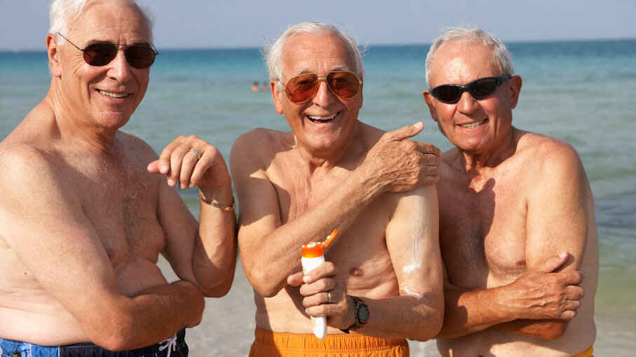 senior men with sunscreen