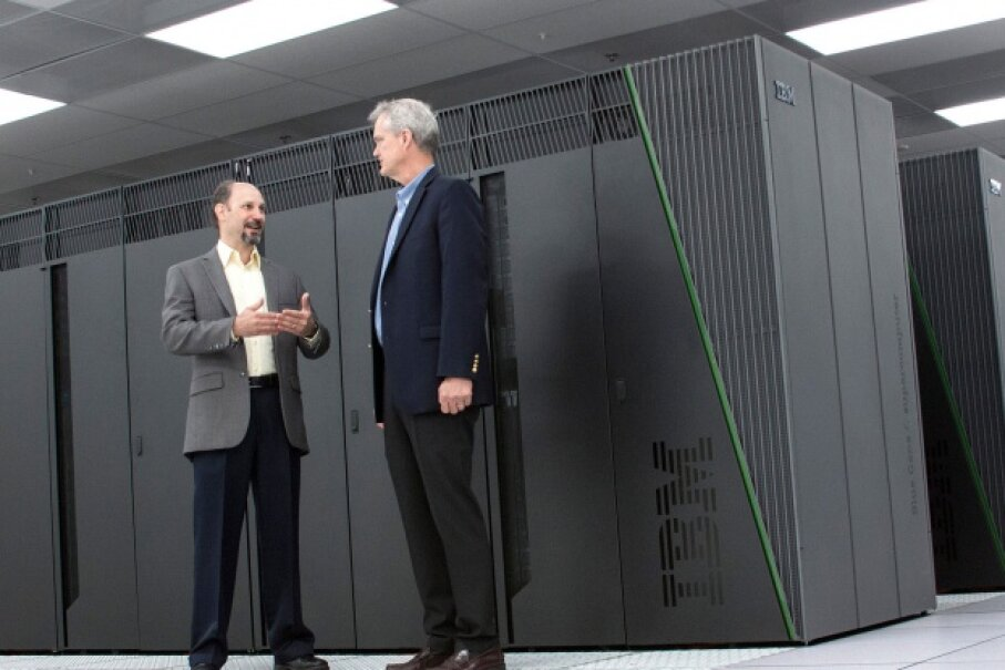 Fret Streitz and Doug East of the Livermore National Laboratory, standing in front of supercomputer Vulcan. © Laura Schulz and Meg Epperly/LLNL