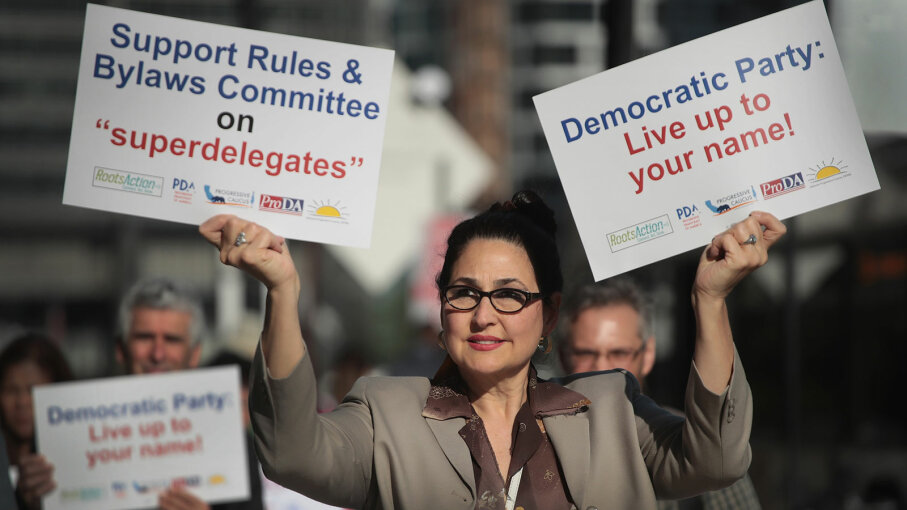 demonstrators against superdelegates