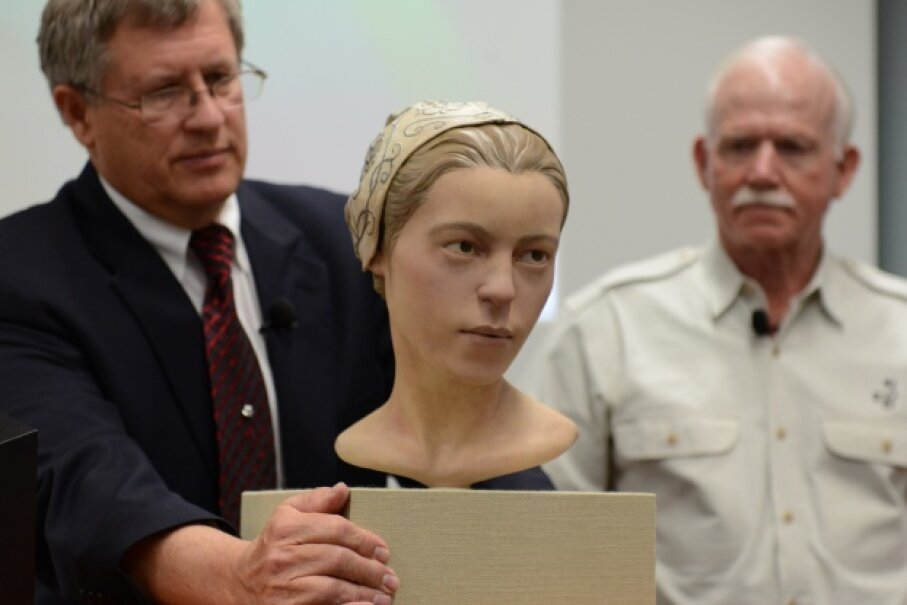 Experts unveil the reconstruction from the remains of 'Jane,' a 17th-century teenager from Jamestown, on May 1, 2013. They believe that she was consumed by colonists during the winter of 1609-1610. Linda Davidson/The Washington Post via Getty Images