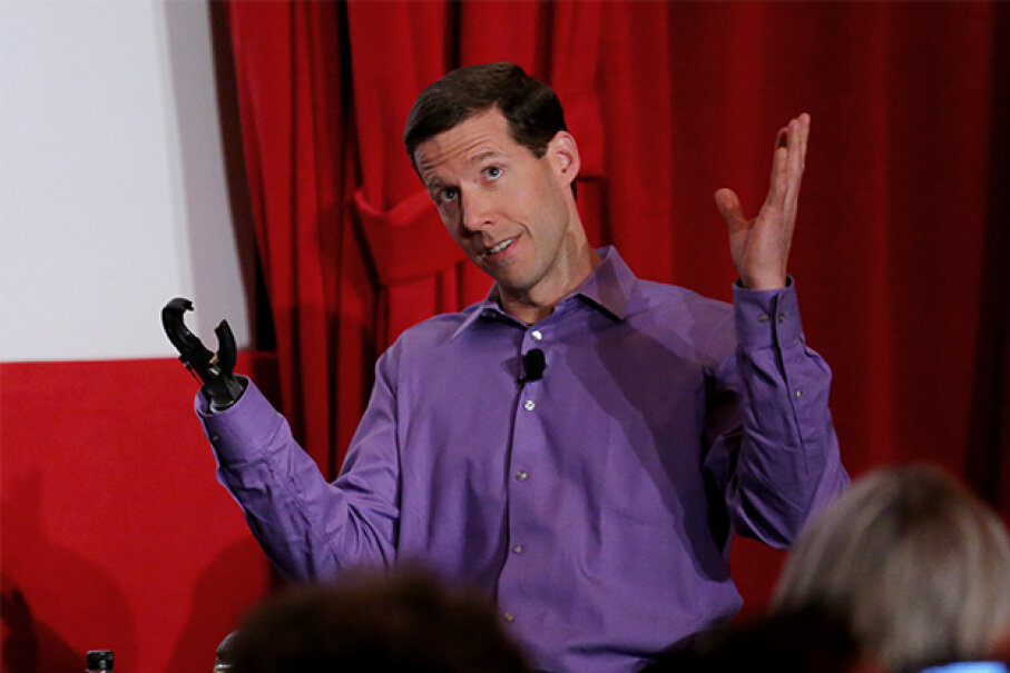 Aron Ralston (and his prosthetic hand) appeared onstage during the 'A Surreal Experience: My Life As Portrayed In Film' panel at the 2015 TCM Classic Film Festival in Los Angeles. Mark Davis/WireImage/Getty Images