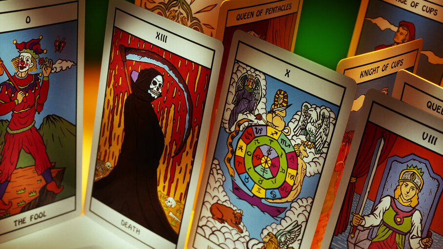 An assortment of Tarot cards